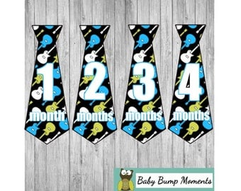 Boy Tie Stickers, Month Stickers, Monthly Stickers, Baby Milestone Stickers, Music Guitar Rock Musician