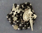 Joan of Arc Rosary, Black with Silver Bark *Catholic,Christian,prayer beads,chaplet,France,crucifix,martyr,fleur-de-lys,French saint,worship