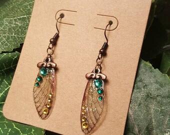 Green Clover - Fairy Wing Earrings