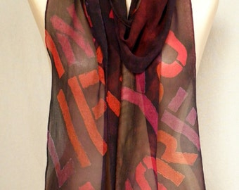 """Beatles """"In My Life"""" - Block Text - Hand Painted Silk Chiffon Scarf in Reds, Rusts and Burgundy"""