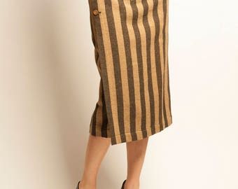 ISSEY MIYAKE early 1980's stripes motif wrapped skirt