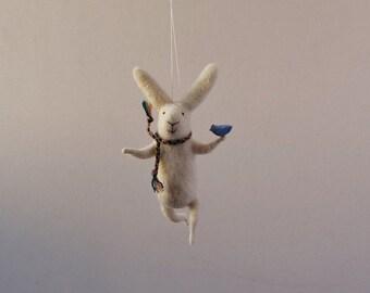 Felt Animal, White Needle Felted Bunny, Hanging Bunny,Needle Feled Miniature, Bunny Mobile
