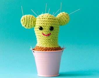 Crochet Cactus plant in a metal planter | Amigurumi plant in pot | Pin cushion | Decorative soft sculpture | Stuffed doll toy