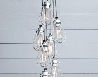 Wire Cage Industrial Chandelier - 7 Lights Cluster