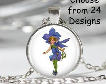 Flower Children Pendant Necklace Art Print Jewelry Charm Jewelry or Keyring, Fairy Necklace, Fantasy Necklace