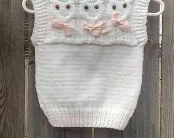 Handmade Knit Owl Vest Baby Girls Size 12 Months
