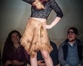 Felted Wool Skirt Brown Beige Skirt Boho Gypsy Skirt Size M/L 10/14 Fur Poncho