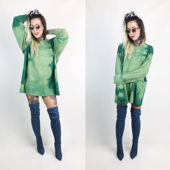 Long Sleeve Green Bleach Tie Dye Unisex Shirt 2XL - Plus Size Grunge Baggy Two Tone Cotton Shirt Big & Tall - Distressed Sporty Green Tee