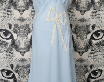50s Full Length Pale Blue Nylon Nightie with Lace Bow Detail by Lorelle / L / XL