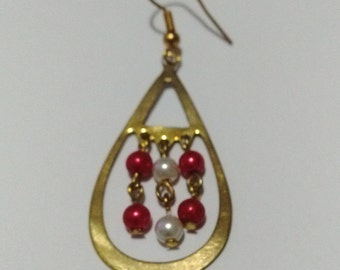 Special cut from brass metal, belly beaded earring