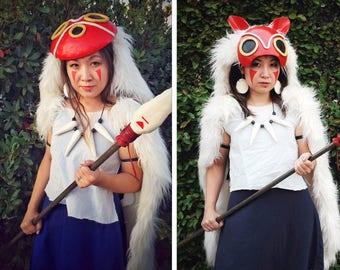 Princess Mononoke COMPLETE SET Costume Cosplay Full or Half Mask Dress Pelt Necklace Earrings Custom Made Handmade Cape