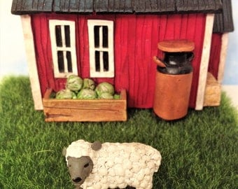 Miniature Lamb Figurine Wolly Sheep Fairy Garden Accessory