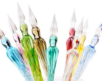 Cute Glass Dip Pen Retro Handmade Glass Signature Pen Elegant Crystal Dip Sign