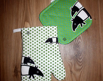 Oven Mitt Pot Holder Set Kitchen Potholders Gloves Cookware Hot Pad Decor Dining Tapir
