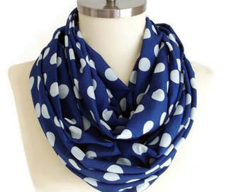 Blue Scarf Cobalt Blue White Polka Dots Infinity Scarf, Polkadots İnfinity Scarf, Polkadots Scarf Women Accessories, Gifts Idea