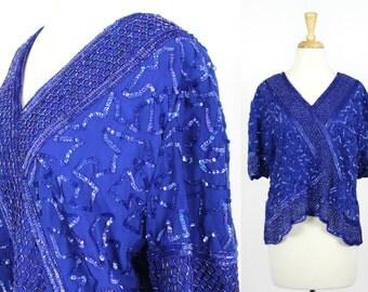 Vintage Sequin Blouse Blue XL