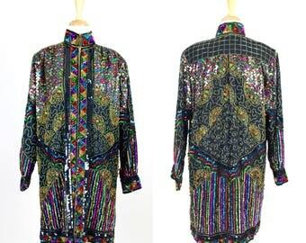 Vintage Rainbow Sequined Kimono / Long Jacket Kaftan Colorful Open Retro