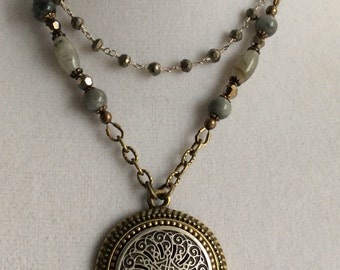 BUTTON NECKLACE, Button Pendant, Labradorite, Pyrite, Antique Brass Chain