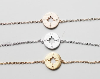 dainty compass bracelet, circle disk bracelet, compass bracelet, bridesmaid gifts, gift ideas, wedding gifts