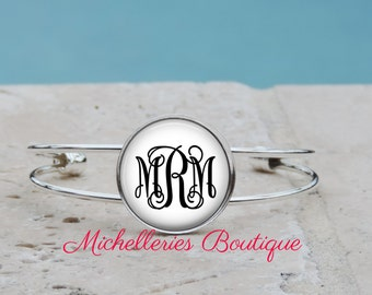 Monogram Cuff Bangle, Monogram Bracelet,Monogram Jewelry, Monogram Accessories, Personalized Gift, Bridesmaid Gifts, Gifts for Her, MB315