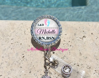 Retractable Badge Holder,Personalized Badge Reel,Bling Badge Reel,Badge Holder,Nurse Badge Reel, RN, LPN, NP, Nicu, Labor Delivery, MB304