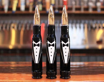 3 Tuxedo 50 Caliber Bullet Bottle Openers. Wedding Party Gift. Groom Gift. Father of the Bride Gift. Engraved Gifts for Groomsmen.