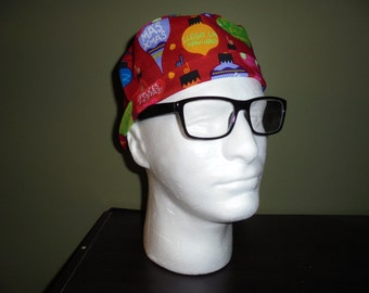 Men's Christmas Holiday Ornaments Surgical Scrub Hat