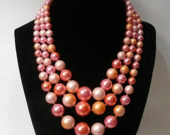 Vintage Japan Triple Strand Faux Pearl Necklace