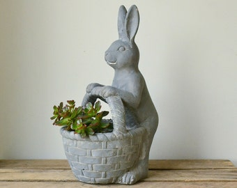 Grey Rabbit with Basket Concrete Planter