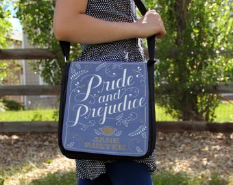 Pride And Prejduice Book Cover  Canvas Large Messenger Bag Purse