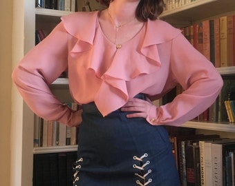 70s Poly Rose Blush Secretary Blouse