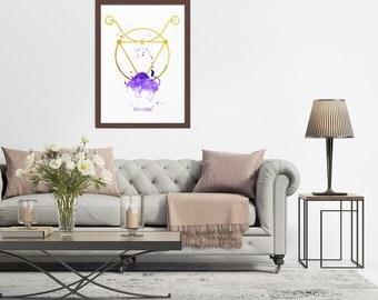 Taurus Art, Watercolor Taurus, Taurus Print, Taurus Sign, Taurus Zodiac, Birthday Gift, Horoscope Art Print, Astrology Art, Taurus Gifts