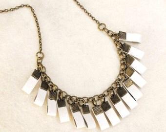 White leather necklace, tribal fringe pendant, boho fringe wedding leather, antique brass and white leather jewelry, gift for her under 30