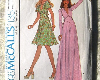 """Vintage 70's Misses' Maxi Dress. Empire Waist Inset. McCall's 4398 Sewing Pattern. Size 12 Bust 34"""""""