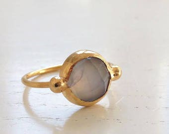Blue Chalcedony Gemstone Gold Ring