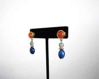 80s vintage earrings - Liz Claiborne earrings navy blue orange gold earrings - 80s Clarity earrings