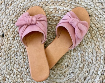 Sunday Slides ~ Knot detail ~ Blush Pink Suede Leather ~ Shoes