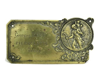 French Antique Brass Saint Christopher Medal. Gift for Driver.