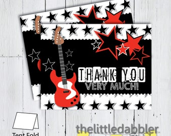 Printable Rock Star Thank You Card -- Red Black Party Like A Rock Star Rock and Roll Guitar Birthday Thank You Note  -- PNG, JPG, PDF