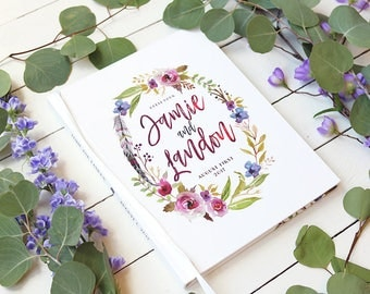 Purple Boho Wedding Guestbook • Modern Calligraphy Floral Wreath Guest Book • Fall Wedding • 8 x 10
