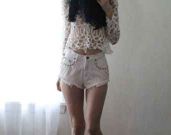 Vintage Cotton Candy White and Pink Studded Highrise Denim Shorts.