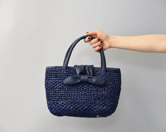 1970's navy blue woven straw bow purse