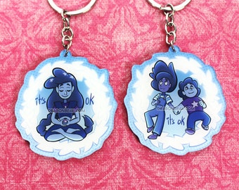 """Stevonnie 2.5"""" keychain double-sided - Crystal Gems, Steven Universe, Connie, it's Okay"""