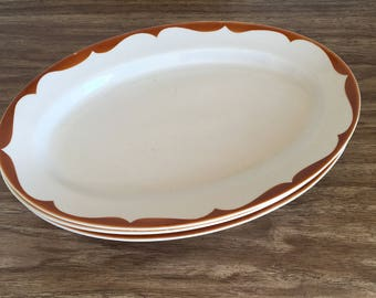 Extra Large Tepco Platters Brown Restaurant Ware Set of Three