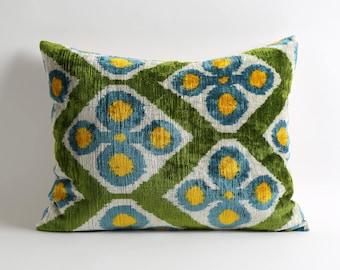 Yellow blue green lumbar silk velvet ikat pillow cover // 16x20 eclectic home decor // modern pillow designer pillows