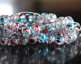 100 approx. spray painted crackle glass speckled clear, red, and blue round 8 mm crackle glass beads, 1 mm hole