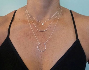 Silver Circle Necklace, Hammered Necklace, Layering Necklace, Silver Necklace, Simple, Dainty, Delicate Necklace, Circle Pendant