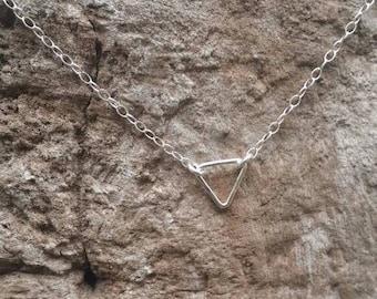Teenie Tiny Silver necklace, Tiny Triangle, Sterling Silver, tiny necklace, tiny charm necklace, Dainty, Tiny Silver Necklace, Everday