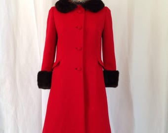 1960's Red Wool Coat Mink Collar & Cuffs Sz. M