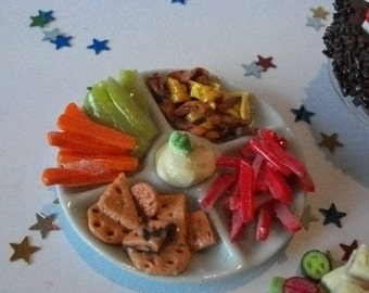 Barbie  doll food  snack, party nibbles in  a ceramic dish